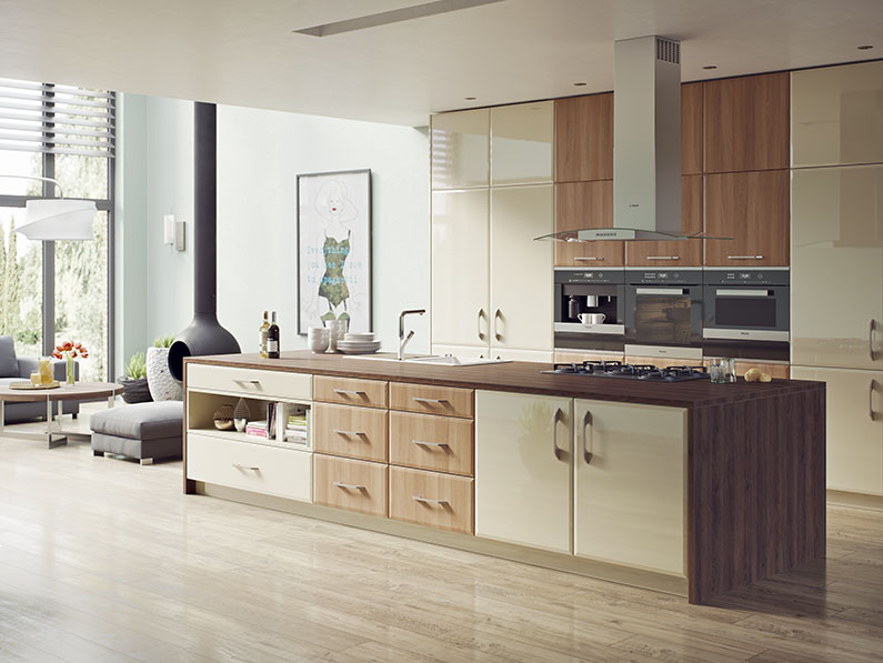 vinyle doors Milano - Natural Aida Walnut & High Gloss Mussel