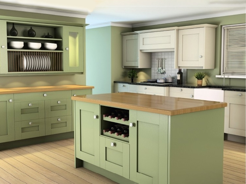Shaker painted Sage and alabaster colour